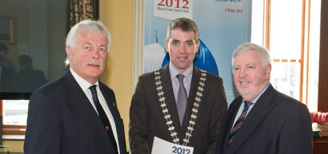Peter Deasy, Admiral Royal Cork Yacht Club, Cllr Tim Lomboard, Mayor of the County of Cork & Pat Lyons, Chairman of Cork Week 2012 at the Launch in the Port of Cork