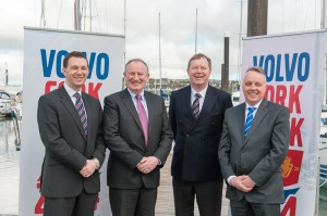 Pictured at the launch of Volvo Cork Week 2014 were L.. to R. Gavin Deane, General Manager RCYC, Adrian Yeates, Managing Direcctor Volvo Car Ireland Ltd., John Roche, Chairman Volvo Cork Week 2014 and Mark Whitaker, Group CEO at Johnson & Perrott Ltd.  Picture Robert Bateman