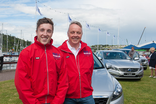 Mark and David Whitaker with the Volvo cars in the background. Pic. Robert Bateman
