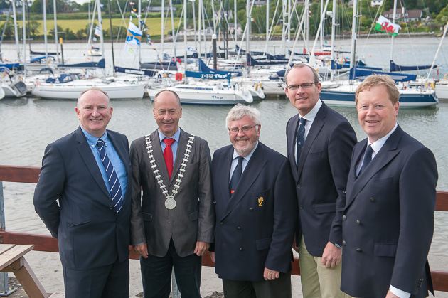 L. to R. Adrian Yeates, Managing Director Volvo Car Ireland, Mayor of Cork County Alan Coleman, Admiral Pat Lyons, Minister Simon Coveney and Vice Admiral and Chair of Volvo Cork Week John Roche. Pic Robert Bateman