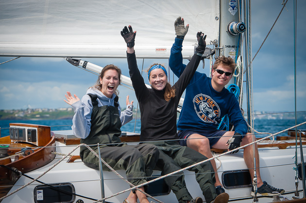These three crew members of  visitor 'Carte Blanche of  Helford' sum up the spirit of Volvo Cork Week. Picture Robert Bateman