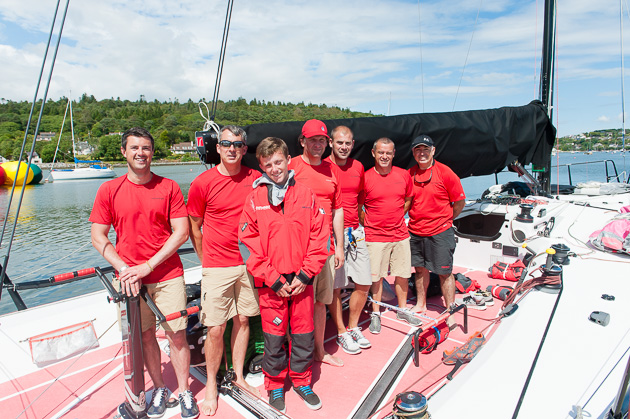The crew of Catapult minus two but including 14 year old Harry Durcan who will represent Ireland this summer in  the Optimist World Championships. Picture Robert Bateman