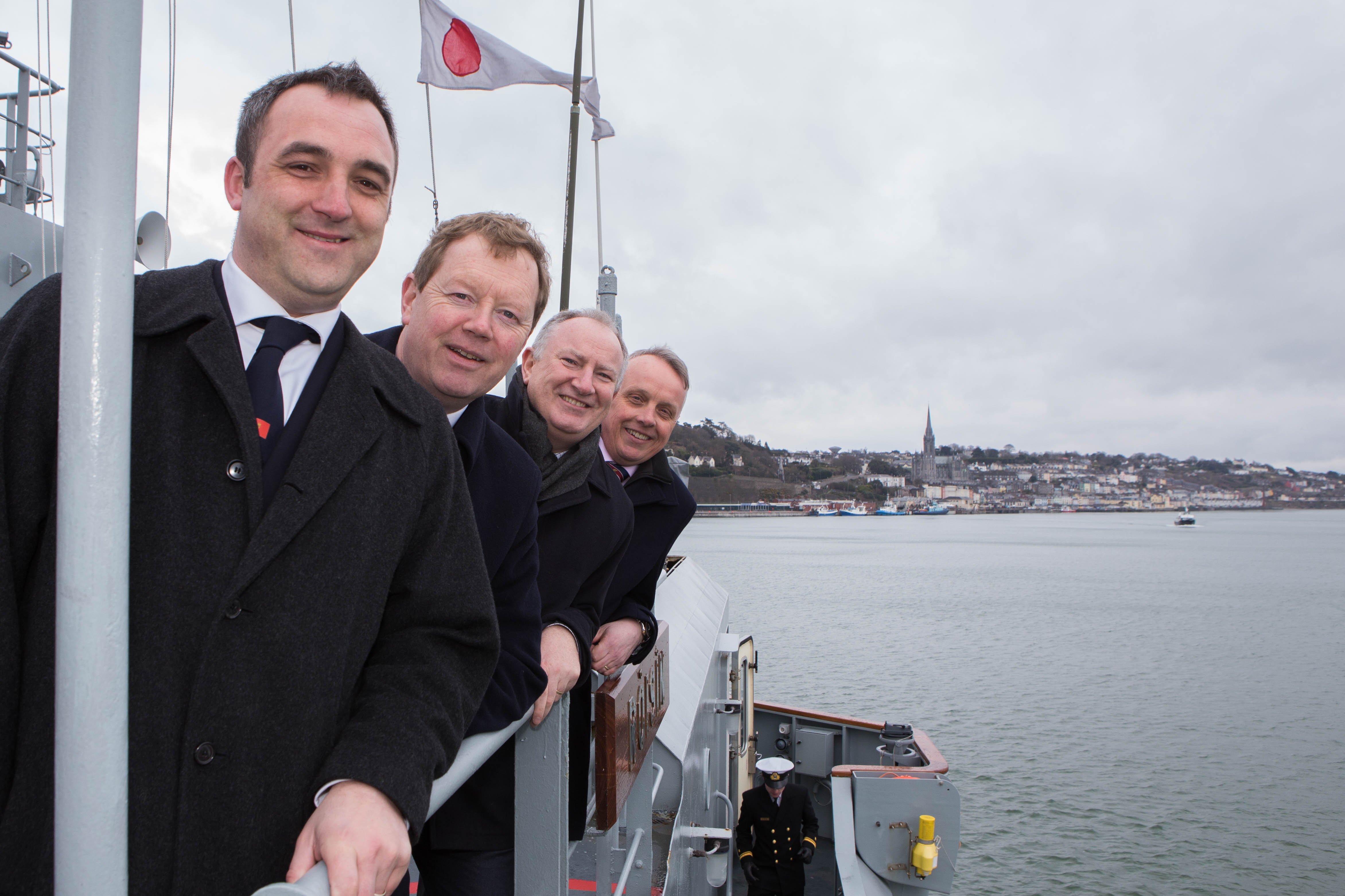 DKANE 04/03/2016 REPRO FREE Kieran O'Connell, Chairman of Volvo Cork Week, John Roche, Admiral Royal Cork Yacht Club, Adrian Yates, MD Volvo Car Ireland and Mark Whitaker, Johnson & Perrott Motor Group at the launch of the Volvo Cork Week 2016 onboard the L.É. RÓISÍN. Pic Darragh Kane
