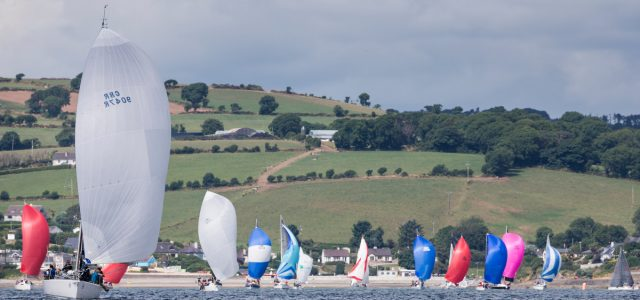 Crosshaven, Co. Cork, 16 July 2018: Mojito (left) owned by Peter Dunlop and Vicky Cox from Pwllheli in Wales pictured of Fountainstown on the opening day of racing at Volvo Cork Week 2018 organised by the Royal Cork Yacht Club. Photograph: David Branigan/Oceansport Free for editorial use with picture credit